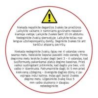 Balta žvakės priežiūros etiketė, 50 mm, lietuvių k.