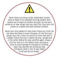 Balta žvakės priežiūros etiketė, 50 mm, anglų k.