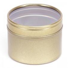Auksinis vientisas indelis su permatomu dangteliu 64x45 mm, 100 ml